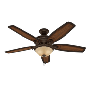 """Hunter 54"""" Claymore Brushed Cocoa Ceiling Fan with Light Kit and Pull Chain"""