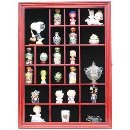 Small Wall Curio Cabinet / Miniature Thimble Display Case Shadow Box Frame, with REAL glass door-CHERRY Finish