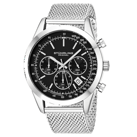 - 3975.1 Men's Quartz Chronograph Date Watch, Silver Tone Alloy Case, Black Dial, Stainless Steel Mesh Bracelet