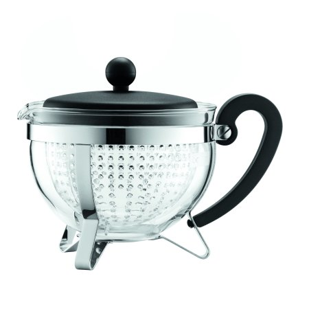 Bodum CHAMBORD Tea pot, 1.0 l, 34 oz with coloured plastic lid, handle and knob, transparent filter, Black