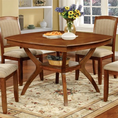 Furniture of America Slother Square Dining Table in - Oak Dining Table Set