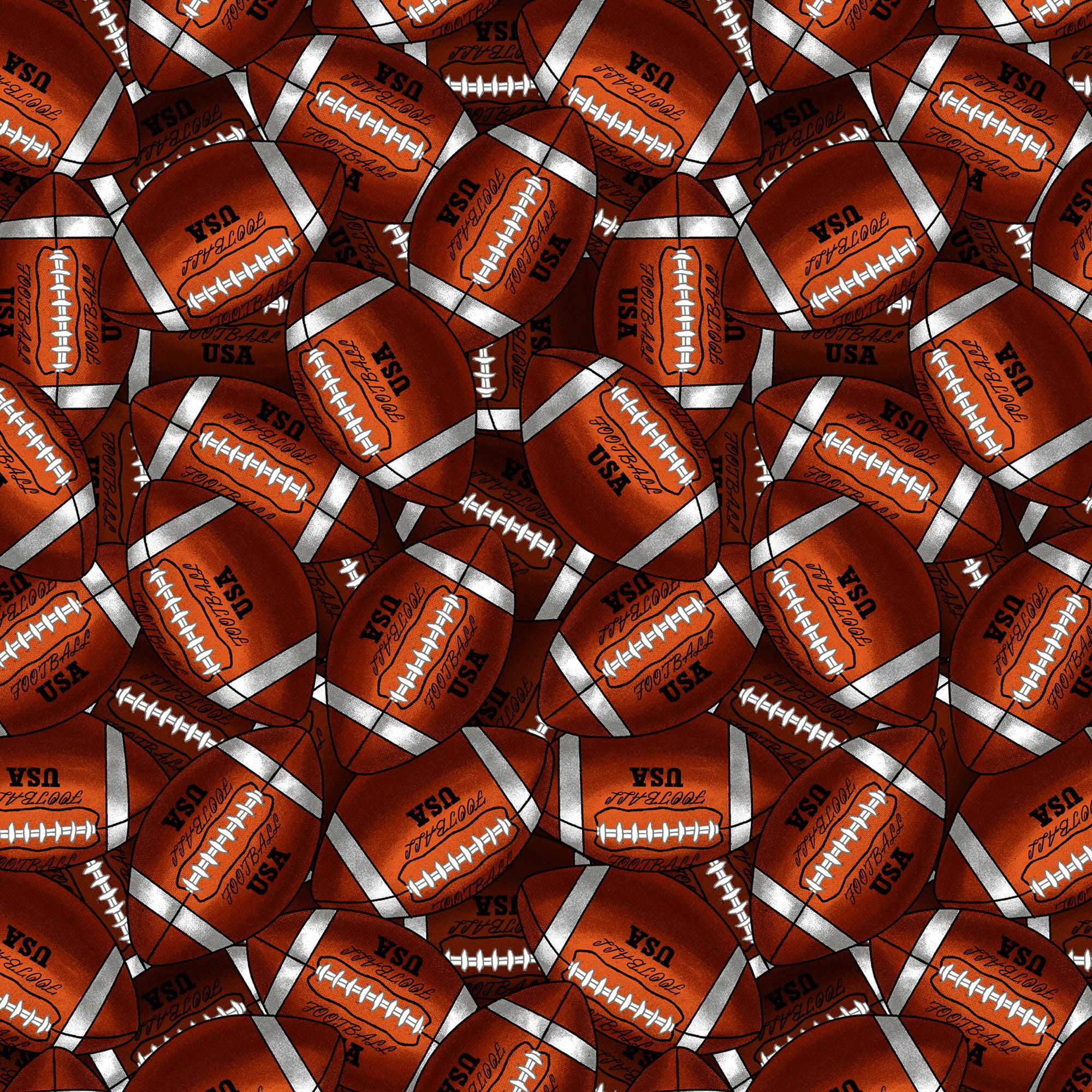"""David Textiles Cotton 36"""" x 44"""" Packed Footballs Pre-Cut Fabric, 1 Each"""