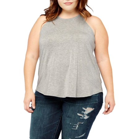 MOA COLLECTION Women's Plus Size Solid Casual Sleeveless Flare Hem Racerback Tunic Tank Top - Racerback Tunic Top