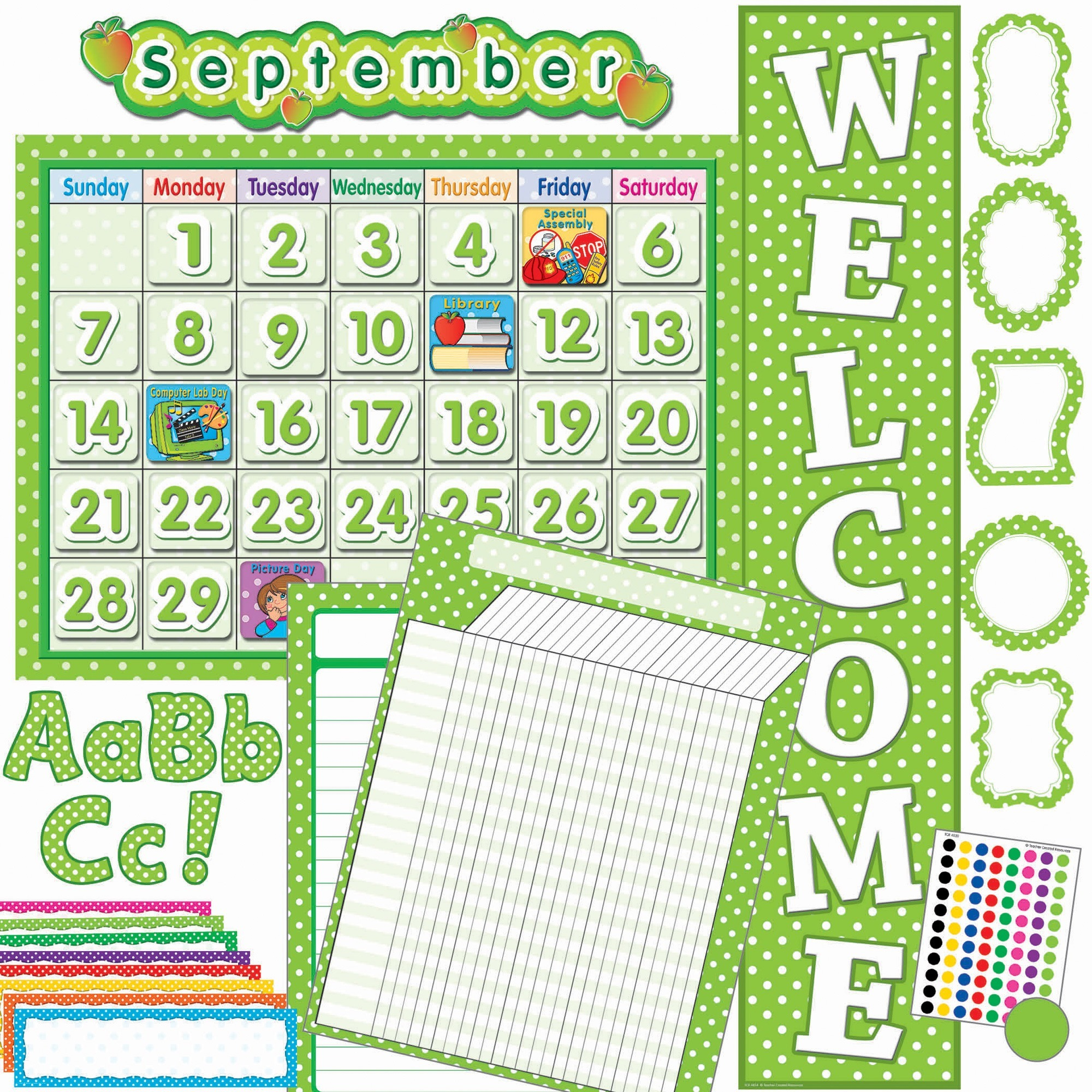 Teacher Created Resources, TCR9586, Lime/Dots Accents Board Set, 1 Set, Lime