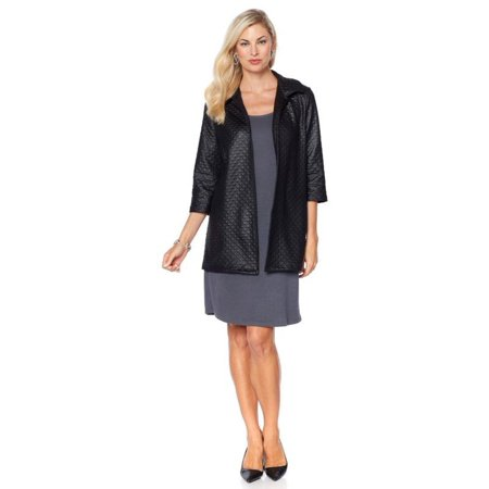 Slinky® Brand 3/4-Slv Faux Leather Quilted Jacket 573-622