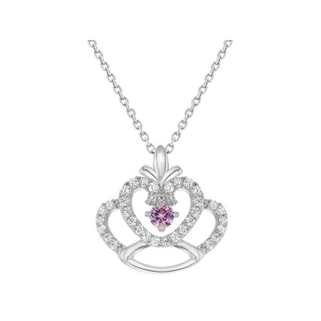 In Season Jewelry Rhodium Plated Princess Crown Pendant Pink Clear Crystal Girls Kids Necklace 16""