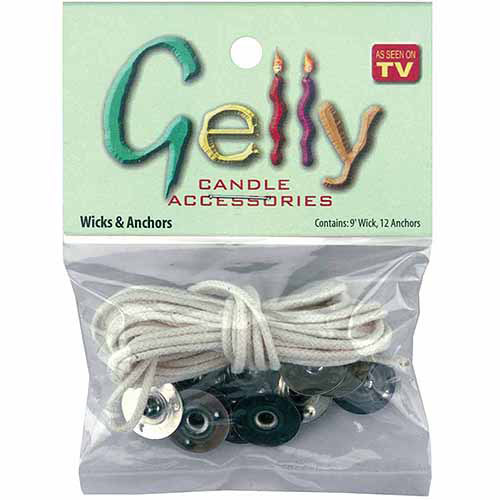 Gelly Candle Wick and Anchors, 9' Wicks and 12 Anchors