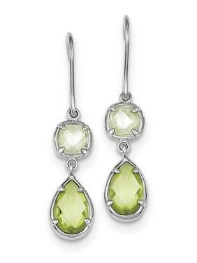 Sterling Silver Light Green & Yellow CZ Dangle Earrings grams (L 38mm W 8mm)Polished | Open back | Sterling silver | CZ | Shepherd hook | Dangle | Rhodium-plated