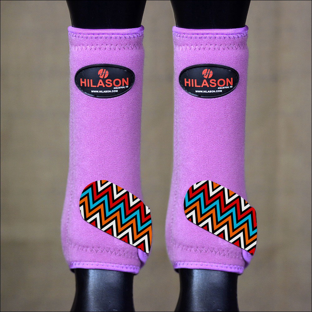 LARGE HILASON HORSE REAR HIND LEG PROTECTION ULTIMATE SPORTS BOOT AZTEC PURPLE