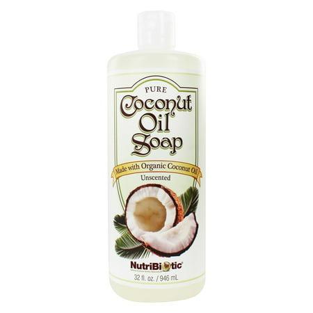 Nutribiotic Pure Coconut Oil Soap Unscented 32 Oz