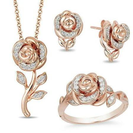 KABOER Fashion Rose Crystal Jewelry Sets Earring Pedant Necklace Ring for Women Rose Gold Wedding Anniversary Valentines  Gift Necklace Earring Ring