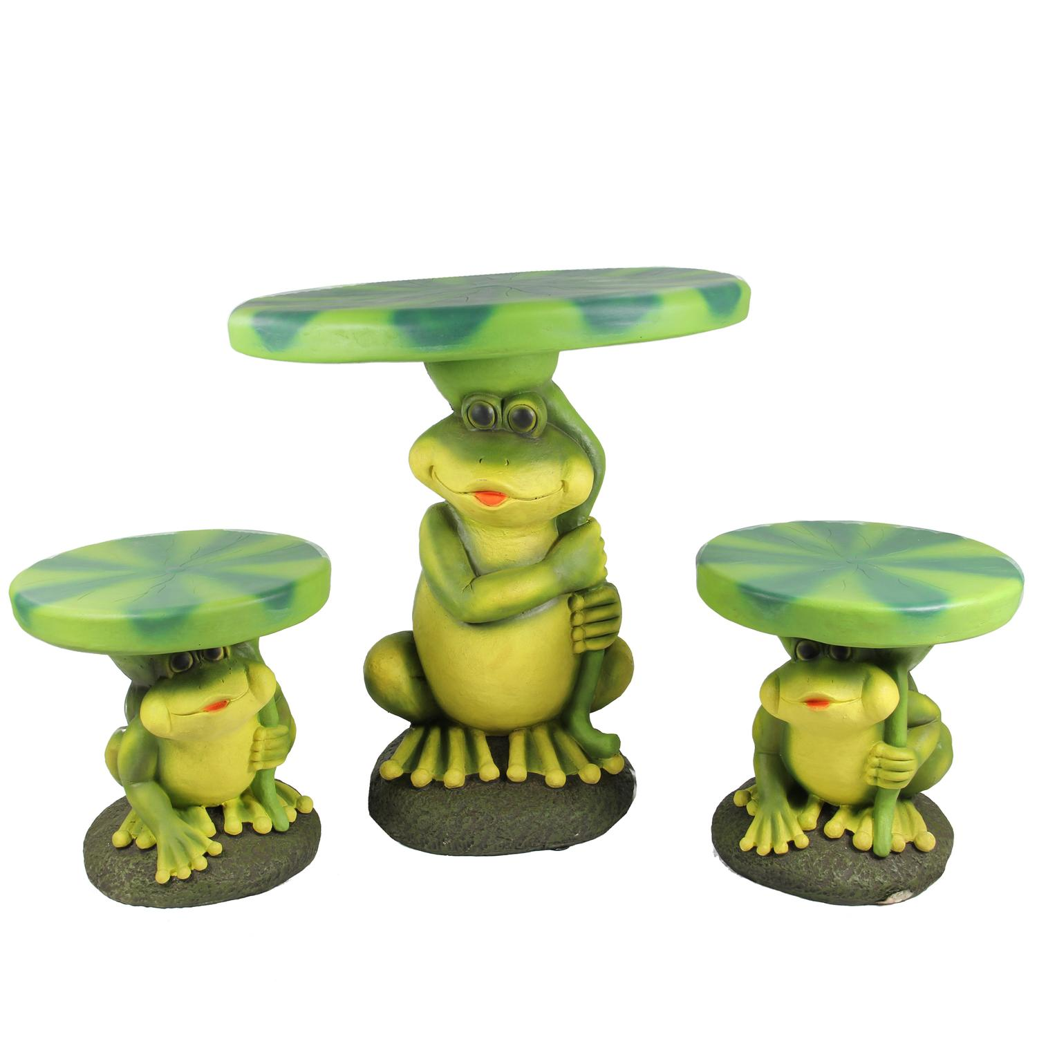 3-Piece Frog with Lily Pad Table & Chair Novelty Garden Patio Furniture Set