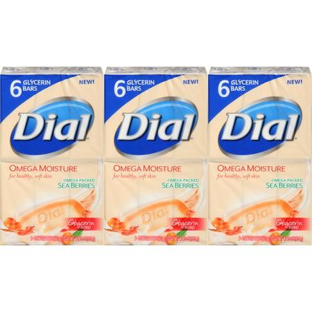 Dial Omega Moisture Sea Berries Glycerin Bar Soap, 4 Ounce, 6 Count (Pack of 3) Total 18 Bars Glycerin Bath Soap
