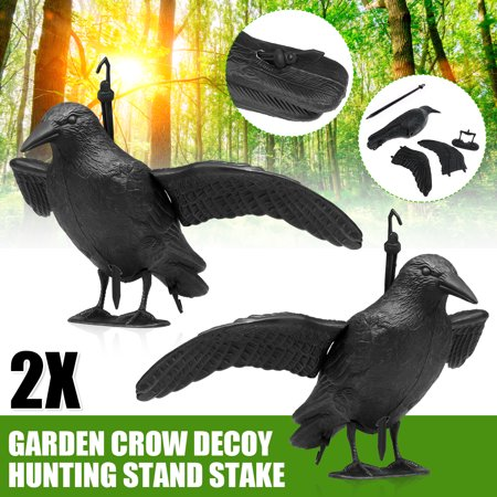 1/2/4/6/10x Garden Crow Decoy Hunting Stand Stake Scare Bird Away Scarecrow Realistic Animal Scarer Decoration W/ Detachable Wing For Garden Home Patio Balcony Decor thumbnail