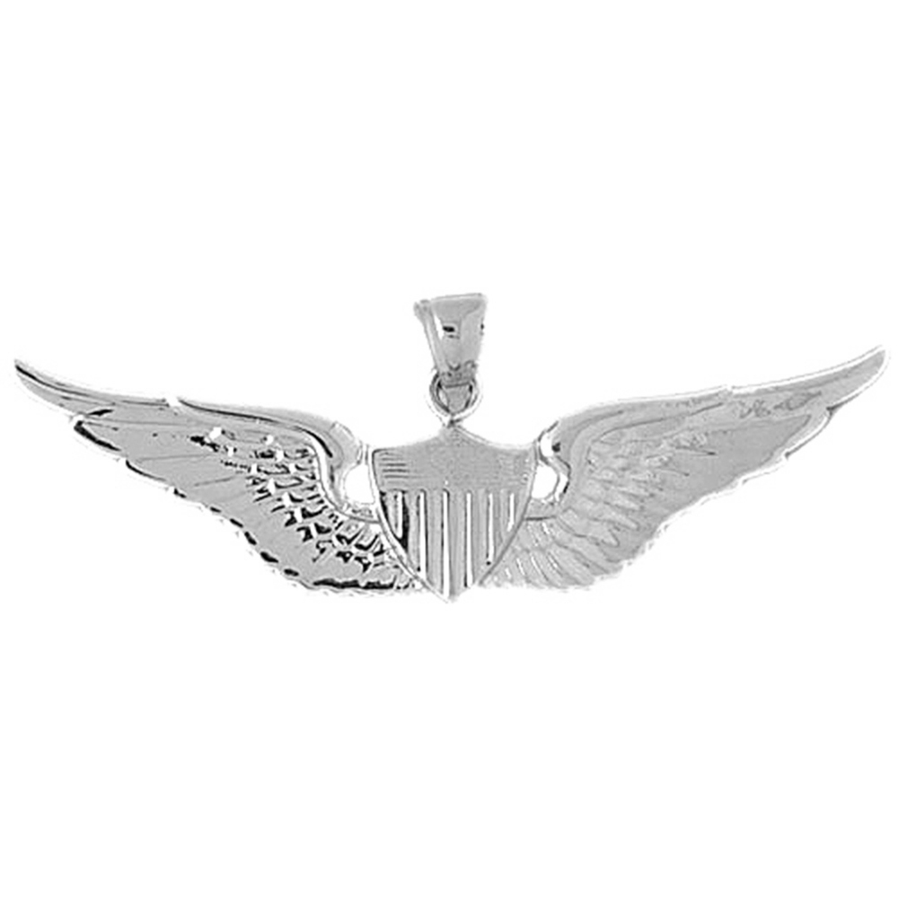 14K White Gold United States Air Force Pendant - 22 mm