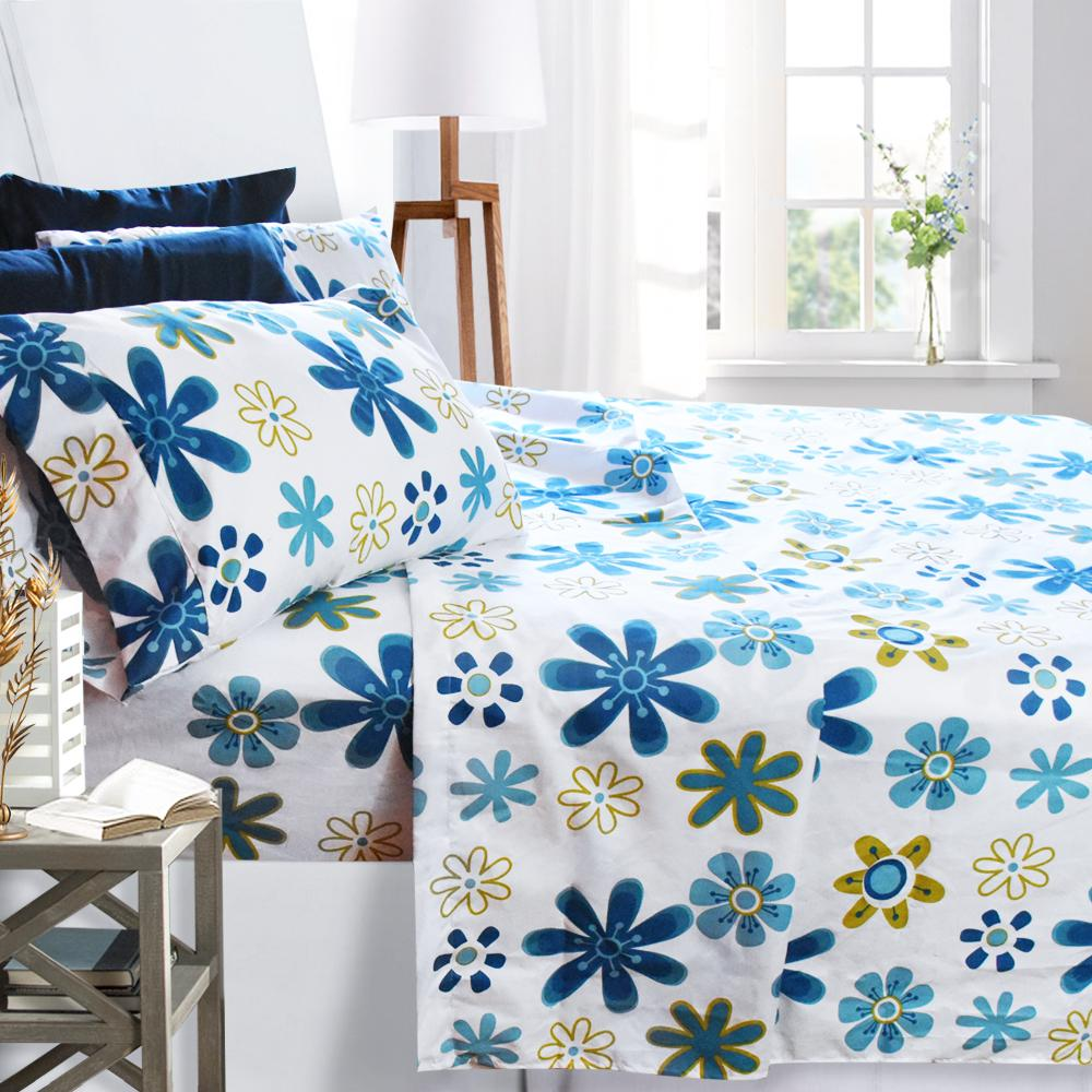 Merveilleux Clara Clark 1800 Series Deep Pocket Printed Bed Sheet Set King Size, Blue  Daisies