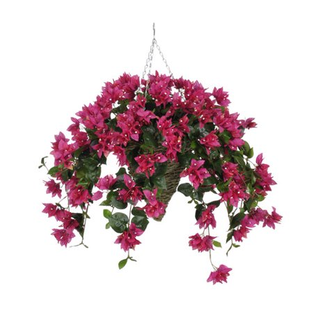 House of Silk Flowers Inc. Artificial Bougainvillea Hanging Plant in Cone Basket
