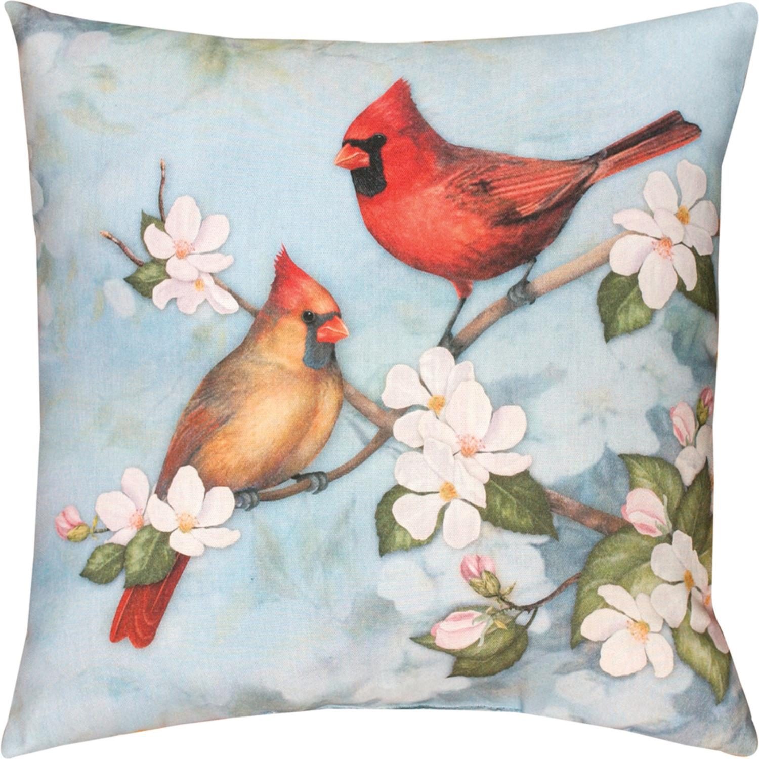 "18"" Spring Cardinal Outdoor Patio Throw Pillow"