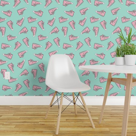 Peel and Stick Removable Wallpaper Girl Shoes Pink Aqua Chuck Little Arrow Retro