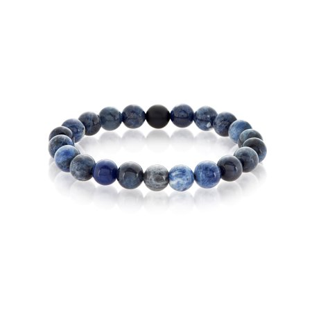 Sodalite and Matte Black Onyx Bead Stretch Bracelet (10mm)
