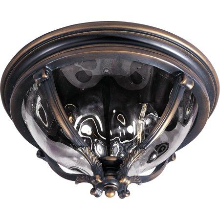 - Maxim Lighting Camden VX - Three Light Outdoor Flush Mount, Golden Bronze Finish With Water Glass