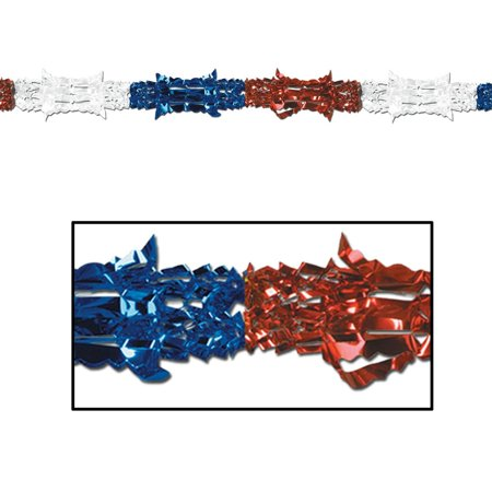 Club Pack of 12 Metallic Red, White and Blue Patriotic Garland Party Decorations 9' - Unlit