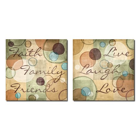Family Poster Print (Faith Family Friends and Live Laugh Love Abstract Circles; Two 12X12 Poster Prints )