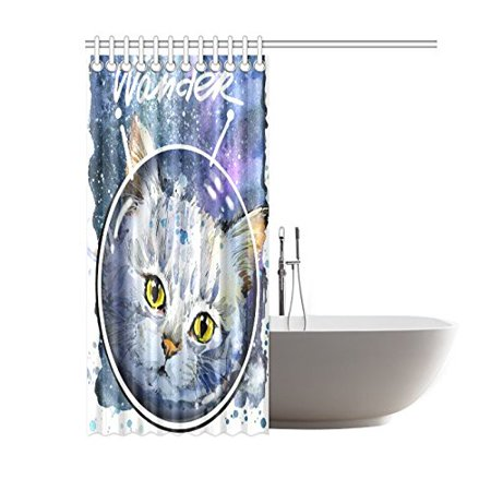 GCKG Funny Animal Cat Shower CurtainUniverse Space Galaxy Cats Kitten Polyester Fabric Curtain