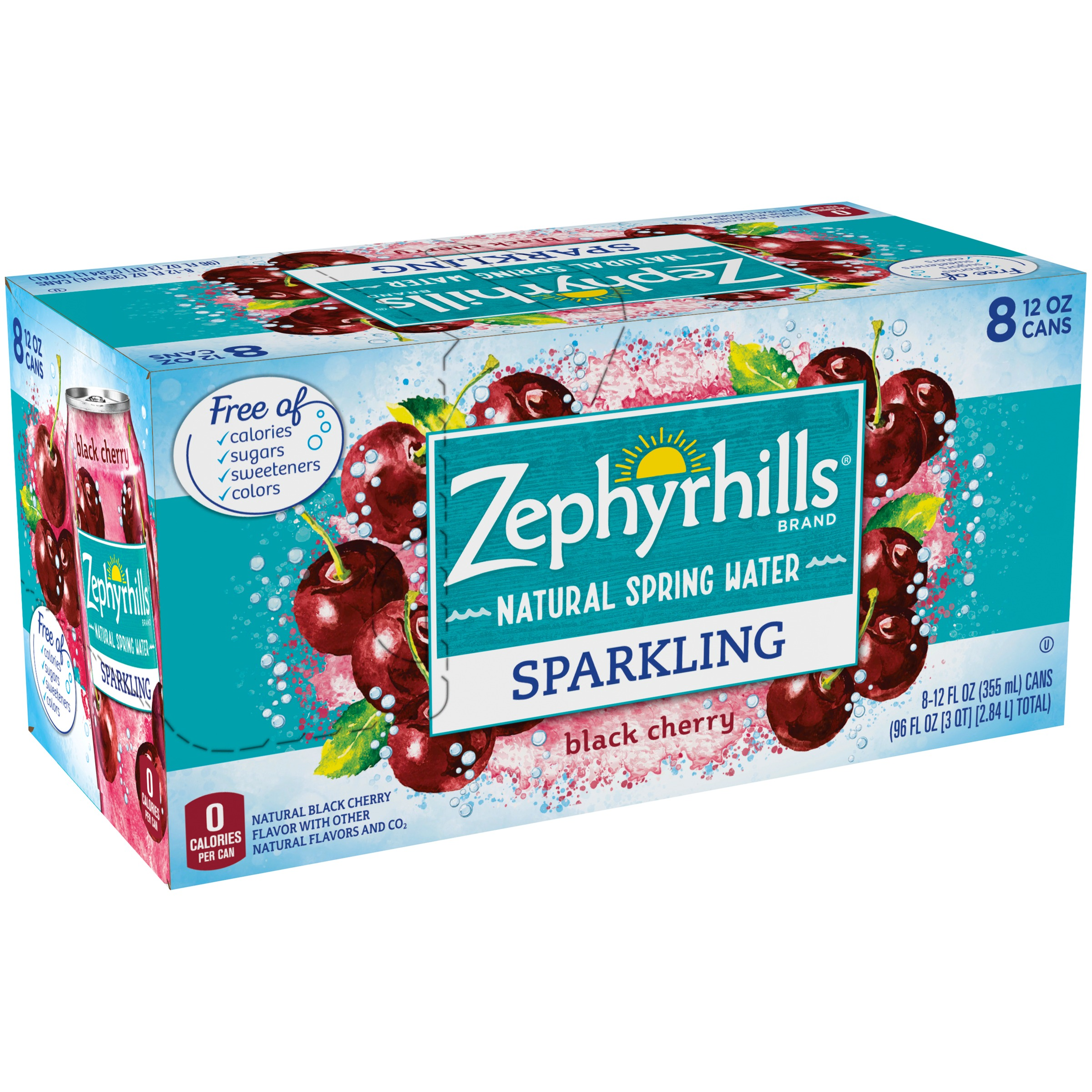 Zephyrhills Black Cherry Sparkling Water, 12 Fl. Oz., 8 Count