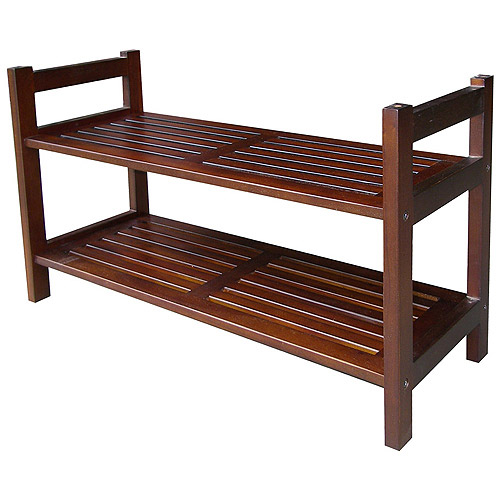 ORE International 2 Tier Stackable Shoe Rack, Mahogany