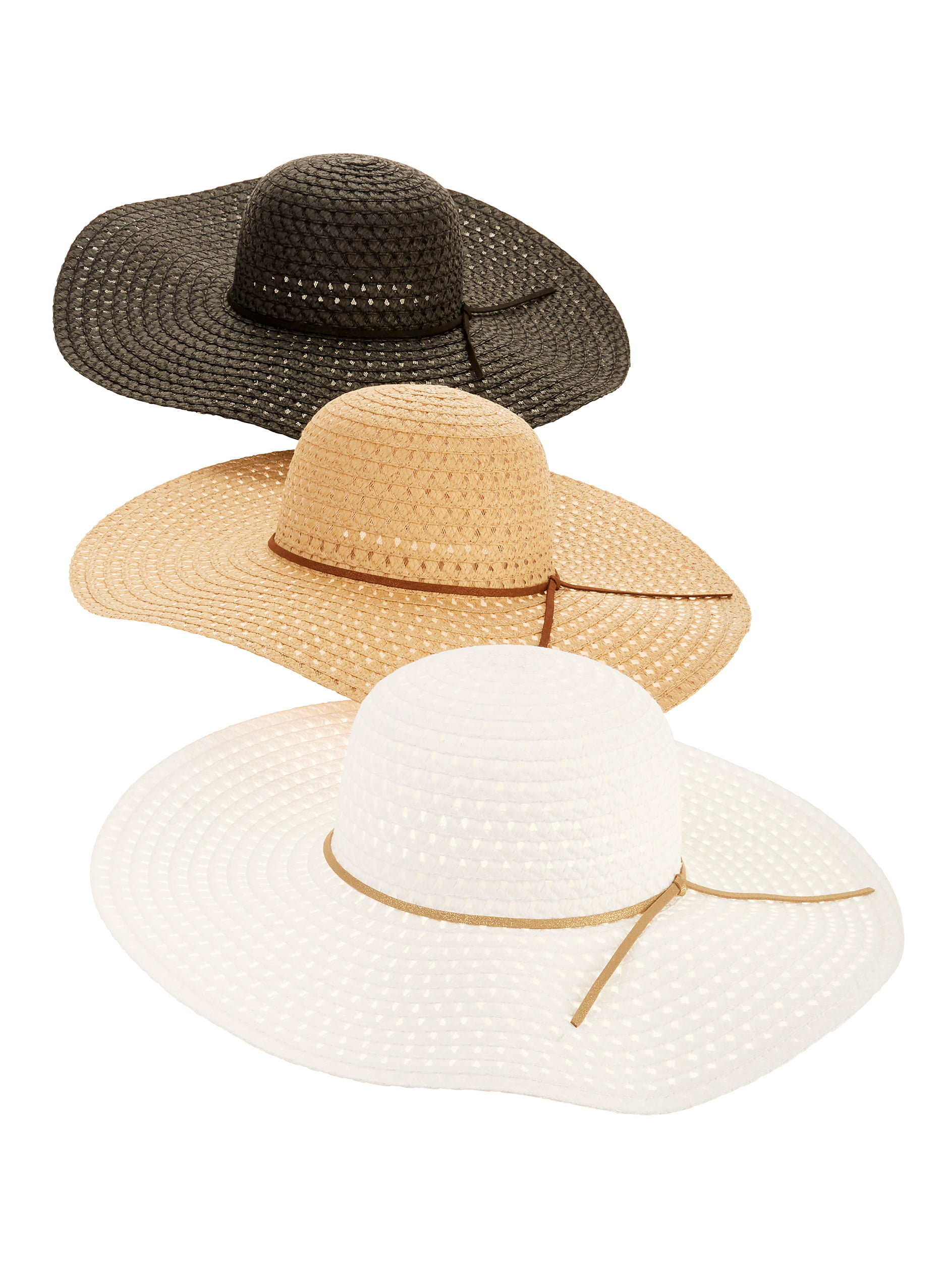 bbfd8c64 Time and Tru - Time and Tru Women's Straw Floppy Hat 3-pack - Walmart.com