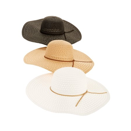 328228b66e8 Time and Tru - Time and Tru Women's Straw Floppy Hat 3-pack - Walmart.com