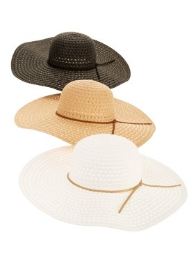 e26b98e2a01 Product Image Time and Tru Women s Straw Floppy Hat 3-pack
