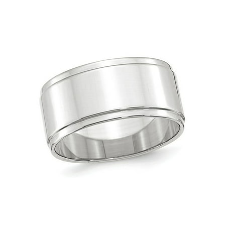 Mens 10K White Gold 10mm Flat Wedding Band with Step Edge
