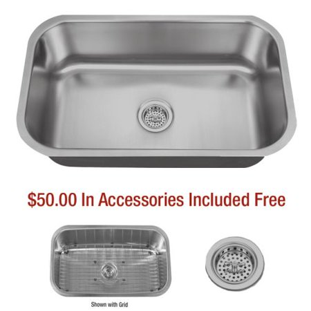 miseno mss3018c 30 undermount single basin stainless steel kitchen sink drain assembly and basin - Kitchen Sink Drain Assembly