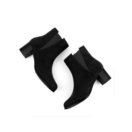 Unique Bargains Round Toe Block High Heel Ankle Chelsea Boots (Women's) - image 5 of 7