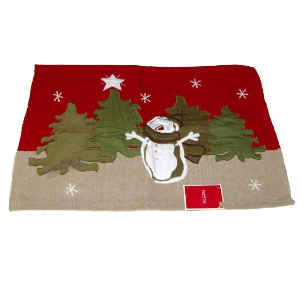 Target Holiday Snowman Applique Throw Accent Rug Cotton B...