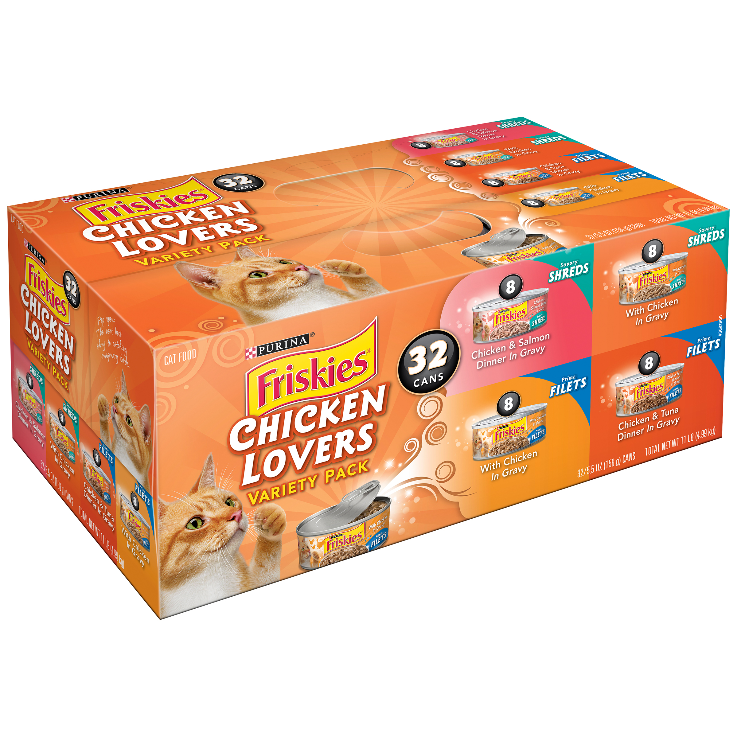 Purina Friskies Chicken Lovers Cat Food Variety Pack 32-5.5 oz. Cans