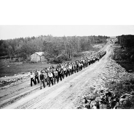 Canada Unemployed 1935 Nmarch Of Unemployed Men From Relief Camps In Western Canada To Ottawa To Demand Jobs At Decent Wages From The Federal Government Photographed Near The Manitoba Ontario Border 1
