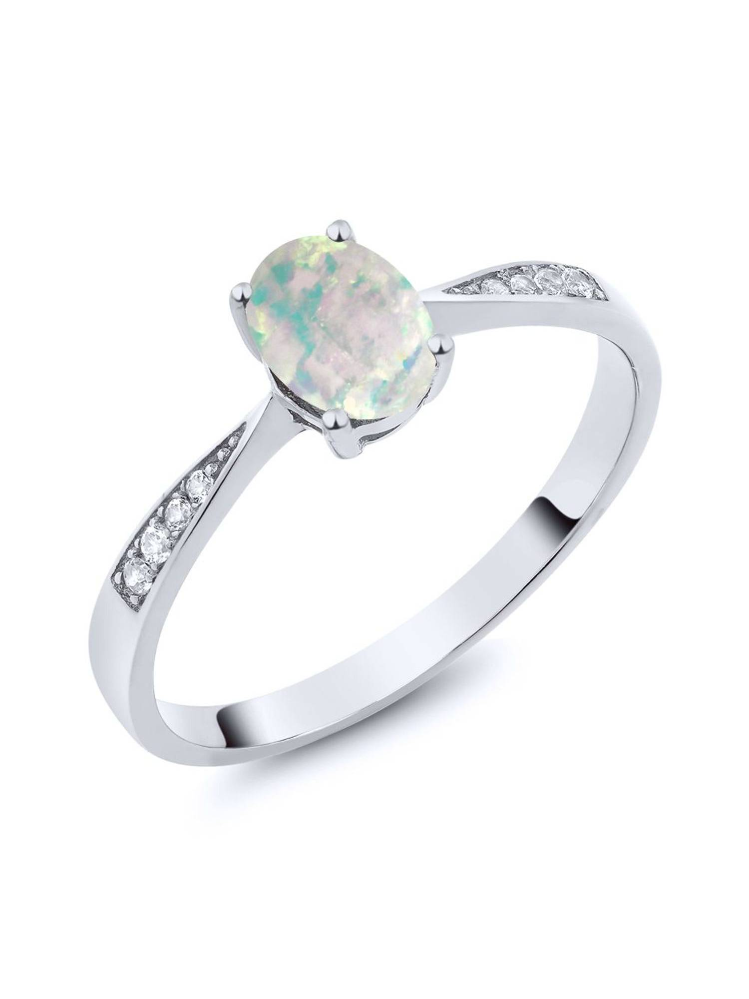 10K White Gold Diamond Ring with 0.69 Ct Cabochon White Simulated Opal by