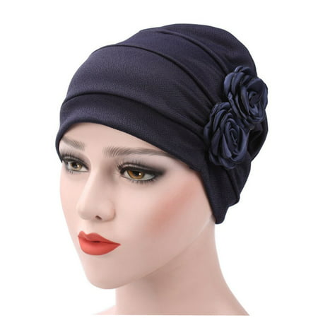 Custom Beanie Hats - Turban Hat Stylish Flowers Chemo Beanie Turban Headwear Chemo Cap Head Cover Wrap for Women