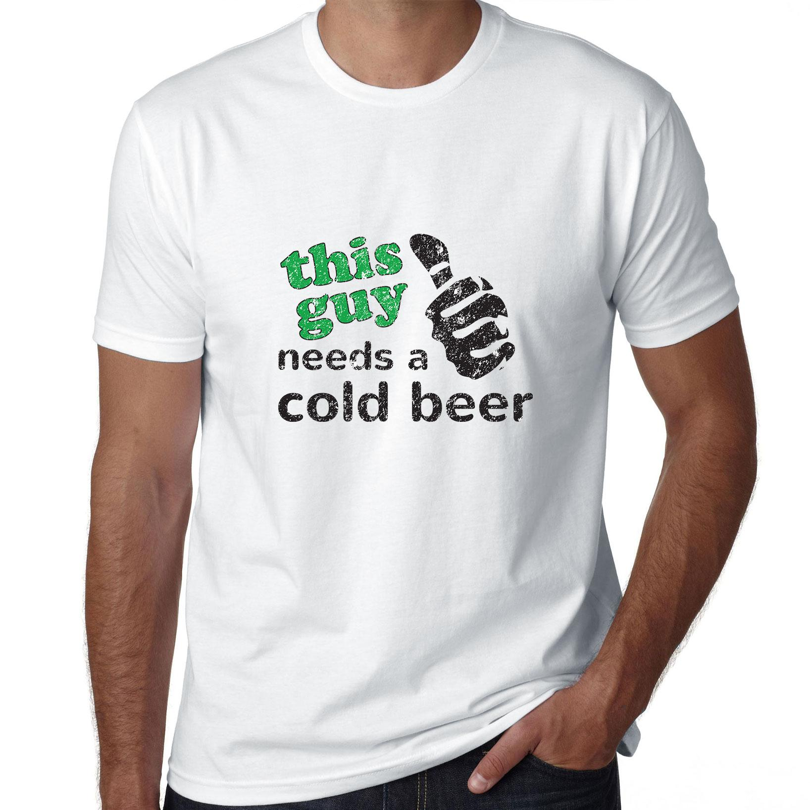 This Guy Needs a Cold Beer - With Thumb Graphic Men's T-Shirt