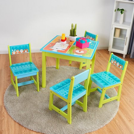 Enjoyable Gymax Kids Table And 4 Chairs Set For Toddler Baby Gift Desk Furniture Cartoon Pattern Theyellowbook Wood Chair Design Ideas Theyellowbookinfo