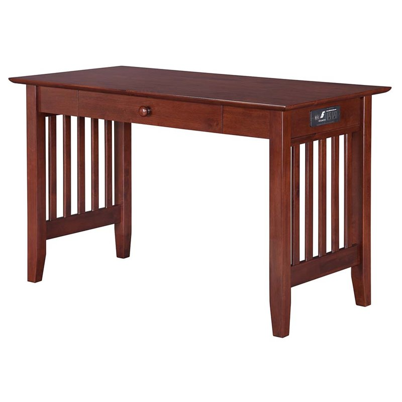 Atlantic Furniture Mission Charger Writing Desk in Walnut