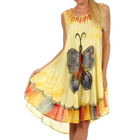 - Sakkas Butterfly Tie Dye Tank Sheath Caftan Mid Length Cotton Dress - Yellow - One Size