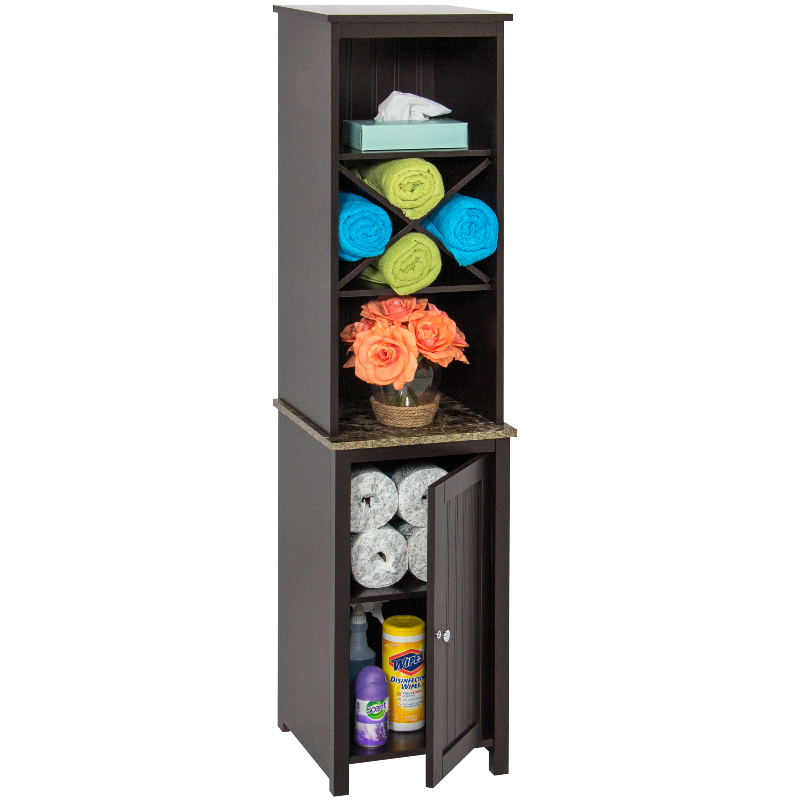 Best Choice Products Bathroom Floor Tower Storage Cabinet - Brown