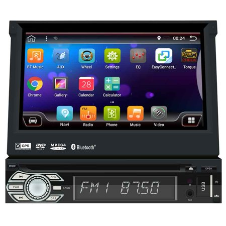 Universal Android 6.0 Single Din, Touchscreen, 2GB RAM, Bluetooth, DVD/CD/MP3/USB/SD AM/FM Car Stereo GPS Navigation, 7 Inch Digital LCD Monitor, Detachable Front Panel, Wireless Remote ()