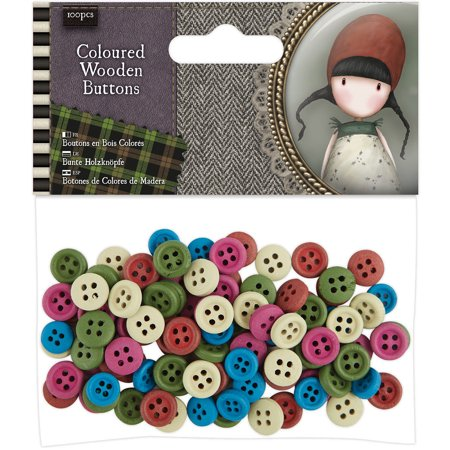 Santoro Gorjuss Tweed Wooden Buttons 100/Pkg-Colored
