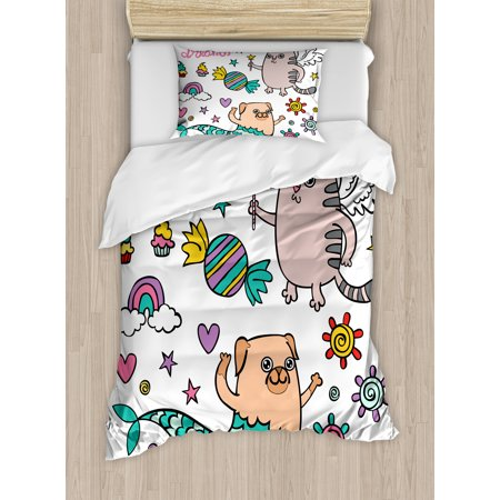 Unicorn Cat Twin Size Duvet Cover Set Pug Mermaid And Wishing Sweet Dreams