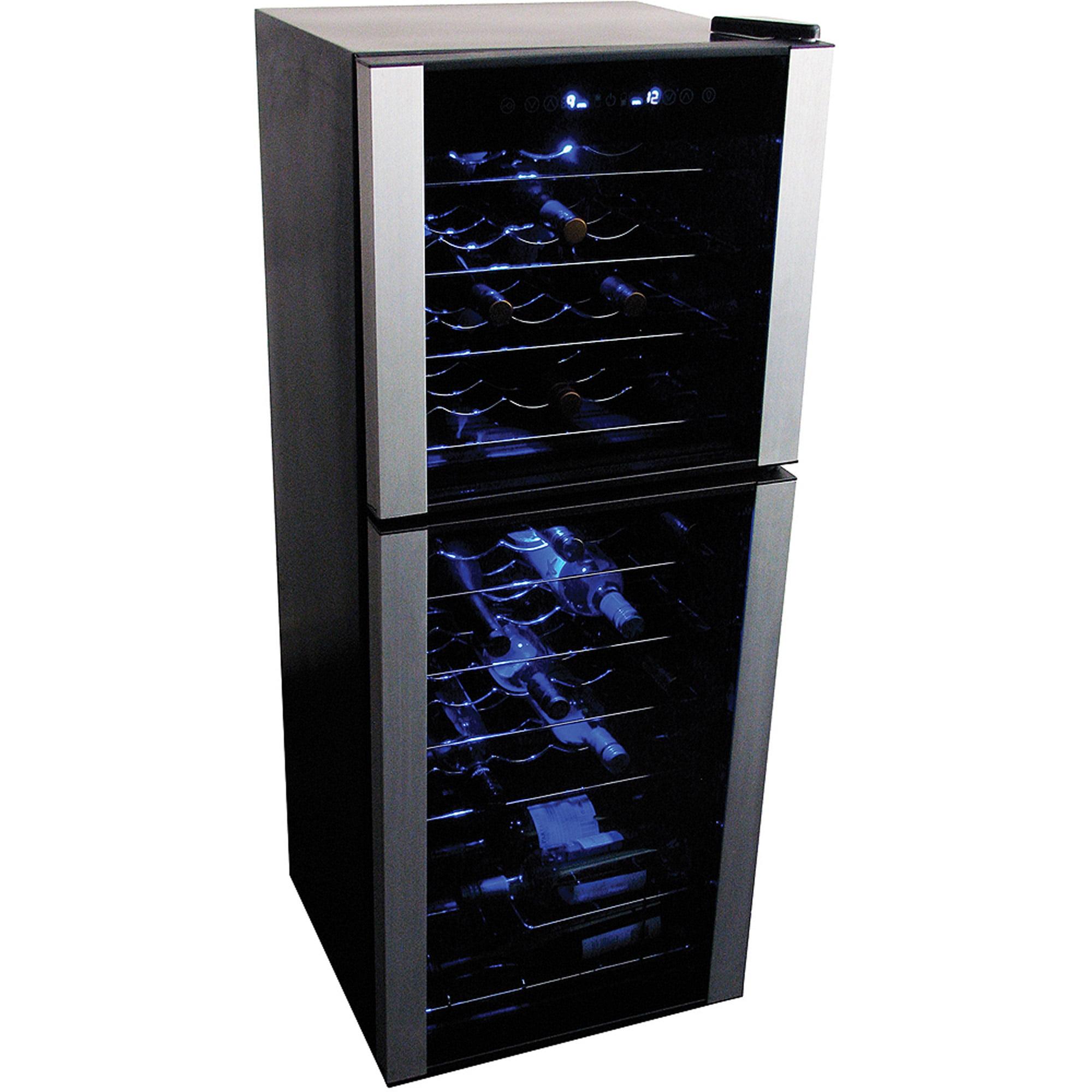 Koolatron 45 Bottle Dual Zone Compressor Wine Cooler, Stainless Steel trim